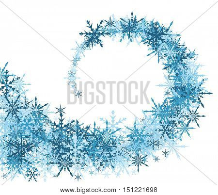 White winter background with whirl of blue snowflakes. Vector illustration.
