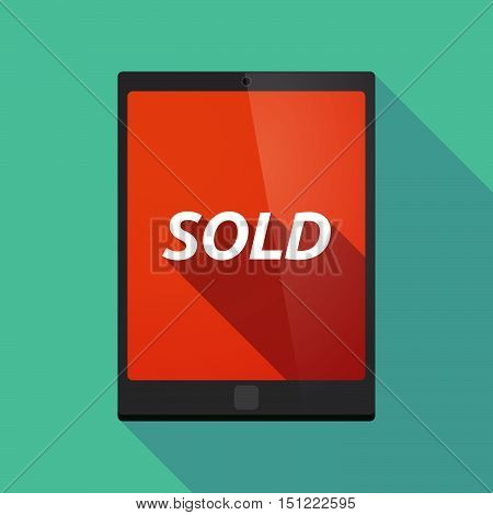 Long Shadow Tablet Pc With    The Text Sold