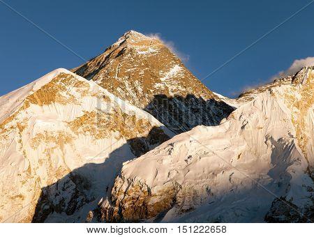 Evening panoramic view of Mount Everest from Kala Patthar - Way to Everest base camp Everest area Sagarmatha national park Khumbu valley Nepal