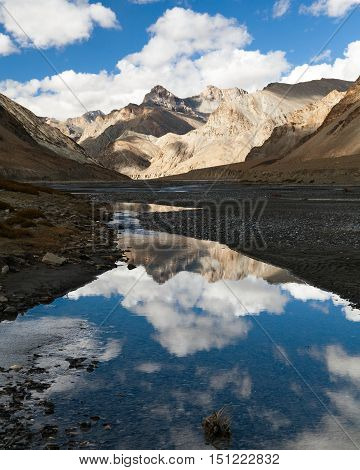 view from Indian himalayas - mountain and river in Rupshu valley - way to Parang La and Takling la passes passes from Ladakh to Himachal Pradesh - India