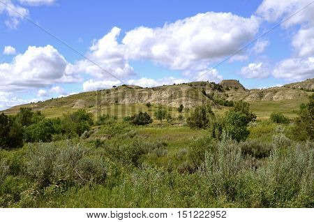 Scenic view of the buttes and rugged land of  North Dakota Badlands, Theodore Roosevelt National Park