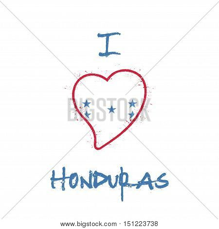 Honduran Flag Patriotic T-shirt Design. Heart Shaped National Flag Honduras On White Background. Vec