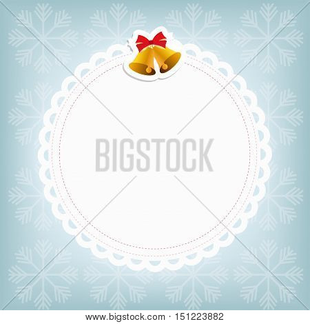 white Christmas frame in the form of a swipe with the bells on a blue winter background with snowflakes. template postcard greeting. new year vector illustration