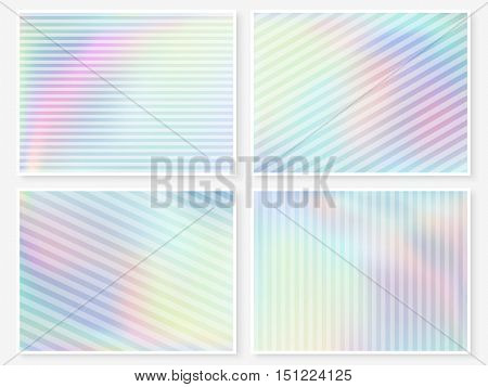 Hologram wallpaper set. Pastel smooth multicolor textures. Hipster style backdrops. Trendy pearl blurs. Modern vector illustration for web design fashion or printed products.