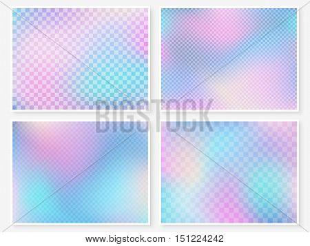 Hologram Wallpaper Set Pastel Multicolor Blurs Squares