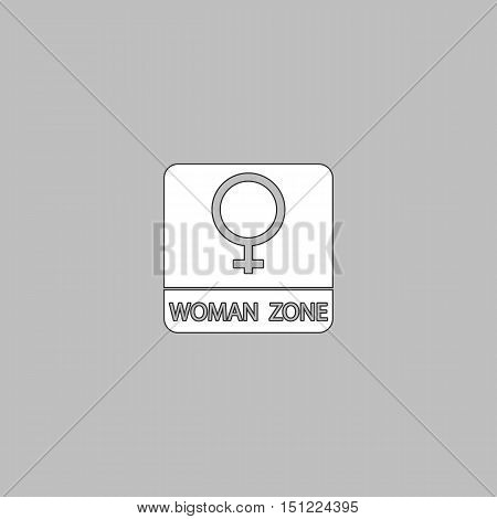 women gender Simple line vector button. Thin line illustration icon. White outline symbol on grey background