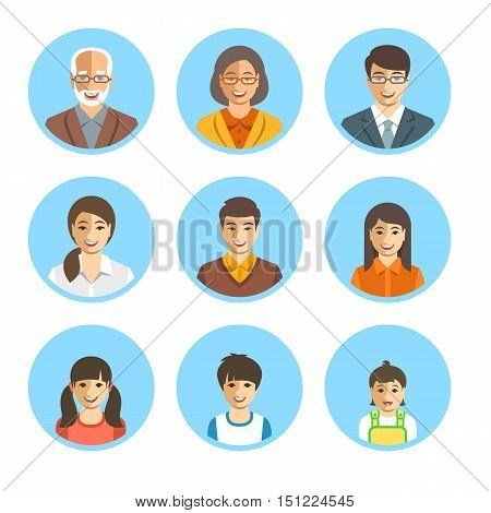 Asian family happy faces. Vector flat avatars. People generation simple icons. Mother, father and adult, teen and little kids. Japanese, Chinese portraits. Young, senior men and women boys, girls and baby