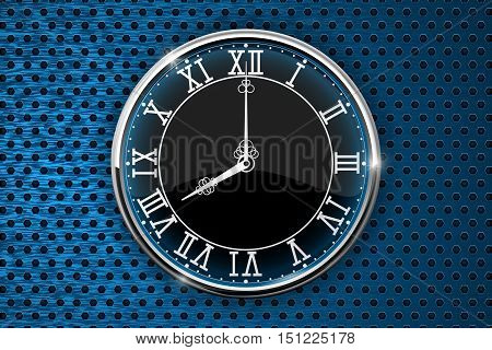 Clock with roman numerals on blue perforated background. Vector illustration