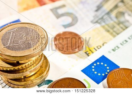 Detail of Euro currency on the desk