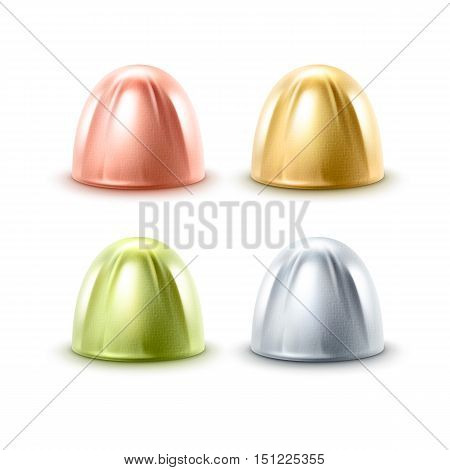 Vector Set of Realistic Chocolate Candies in Golden Silver Green Pink Glossy Foil Wrapper Close up Isolated on White Background