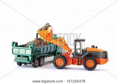 Wheel Loader Loading Soil on Dump Truck