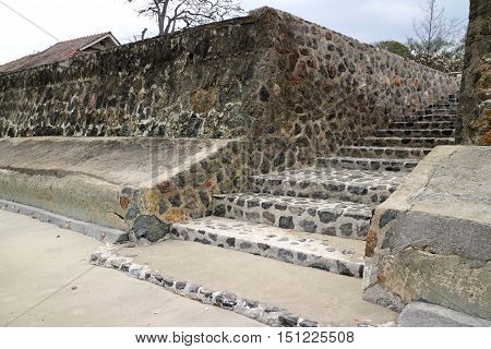 Beach Stair made of Stone on a Beach