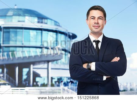 Businessman on blurred building background. Lawyer and notary concept.