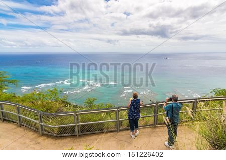 Panoramic ocean view from diamond head monument state viewpoint, Oahu, Hawaii, Usa