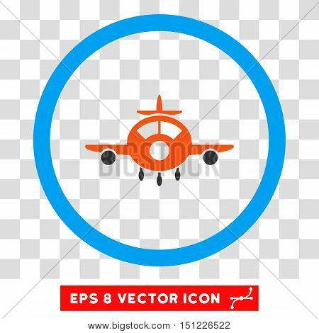 Rounded Aircraft EPS vector icon. Illustration style is flat icon symbol inside a blue circle.