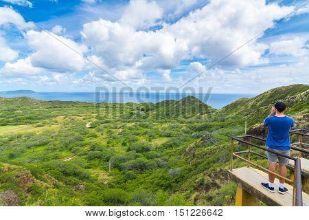 Panoramic view from diamond head monument state viewpoint, Oahu, Hawaii, Usa