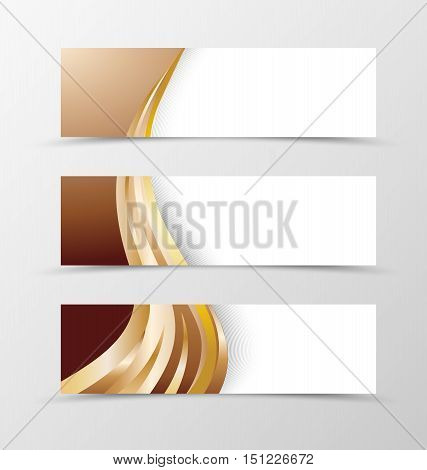 Set of banner design with wave gold line. Banner for header. Design of banner in chocolate style with gold line