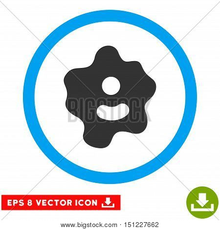 Rounded Ameba EPS vector pictogram. Illustration style is flat icon symbol inside a blue circle.