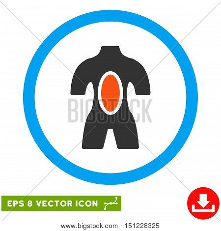 Rounded Anatomy EPS vector pictograph. Illustration style is flat icon symbol inside a blue circle.