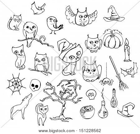 Halloween set with different animals isolated on white. Contour,black and white.