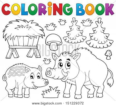 Coloring book with wild pigs theme 1 - eps10 vector illustration.