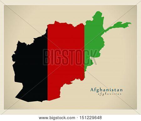 Modern Map Afghanistan flag colored AF vector high res