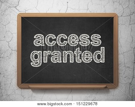Safety concept: text Access Granted on Black chalkboard on grunge wall background, 3D rendering