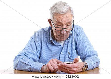 Senior Man And Mobile
