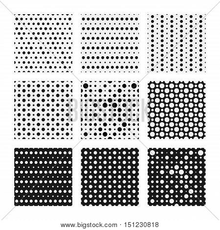 Seamless dots patterns set, vector backgrounds. Polka dots seamless pattern, pattern collection. Seamless geometric pattern with random dots for textile print, wallpaper and cover