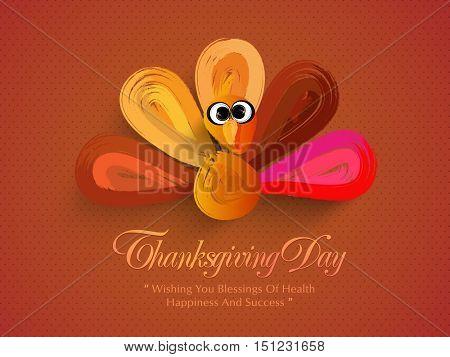 Creative Turkey Bird made by brush strokes, Elegant greeting card design for Happy Thanksgiving Day celebration.