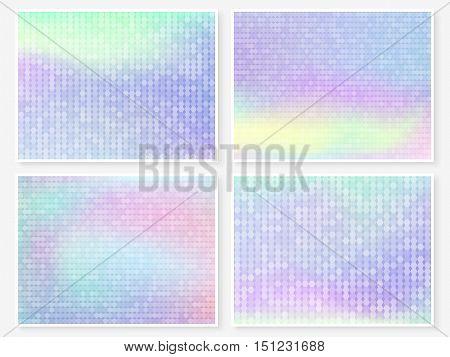 Hologram Wallpaper Set Pastel Multicolor Blurs
