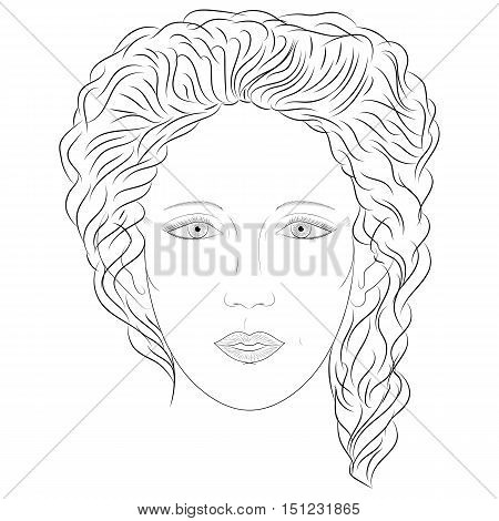 Hand Drawn Woman in Full Face. Sketch Drawing Beautiful Lady with Curly Hairs. Vector Illustration.