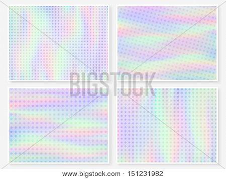 Hologram Wallpaper Set Pastel Multicolor Blurs Dots