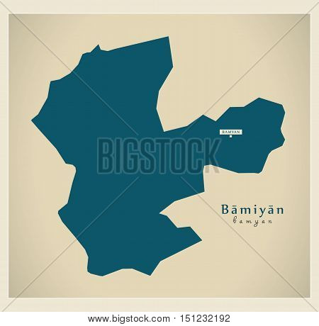 Modern Map Bamiyan Afghanistan AF vector high res