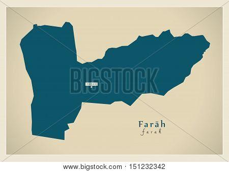 Modern Map Farah Afghanistan AF vector high res
