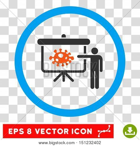 Rounded Bacteria Lecture EPS vector icon. Illustration style is flat icon symbol inside a blue circle.