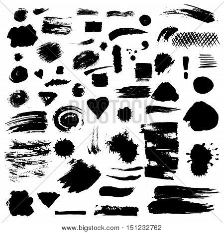 Set of vector paint stains. Ink drops, dirty blots, splashes and smudges. Brush strokes, banners, borders, splatters. Collection of grunge design element. Illustration isolated on white