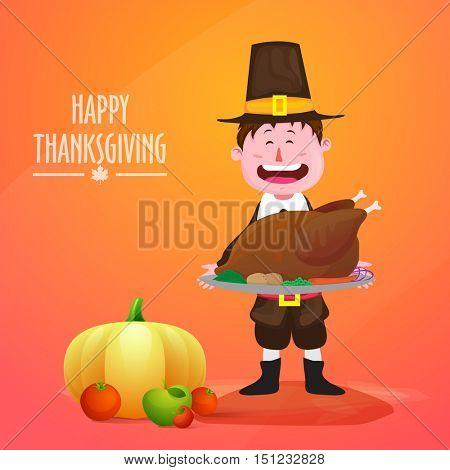 Funny pilgrim boy holding roasted chicken for Happy Thanksgiving Day celebration.