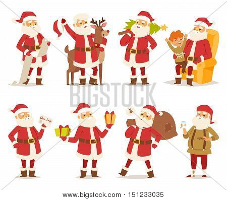 Collection of Christmas Santa Claus vector illustration. Vector red hat happy new year Santa Claus symbol. Merry Christmas cut funny man Santa Claus traditional december holiday present decoration.