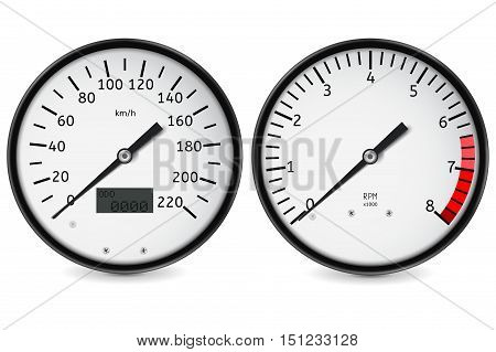 Speedometer tachometer. Realistic gauges. Vector illustration isolated on white background