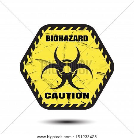 Biohazard - vector isolated icon on the textured background with shadow.