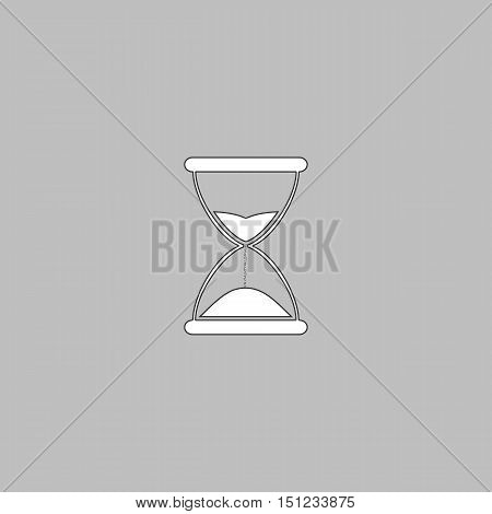 hourglass Simple line vector button. Thin line illustration icon. White outline symbol on grey background