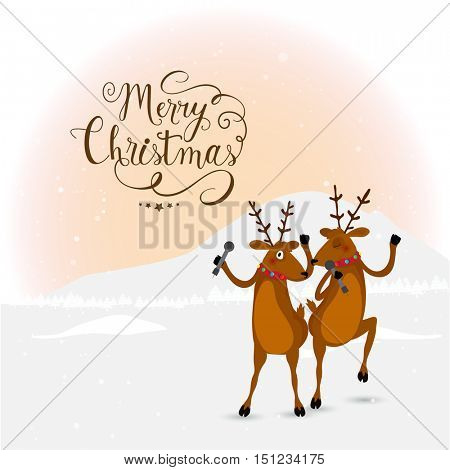 Cute Reindeer singing and dancing on occasion of Merry Christmas celebration.
