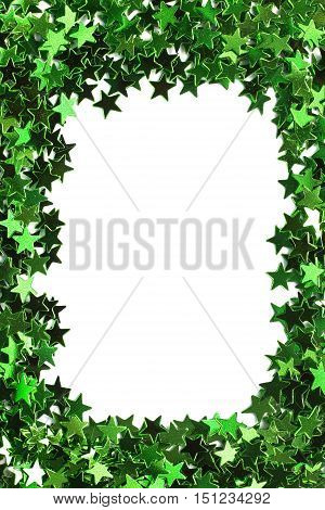 Blank frame of green confetti as a background