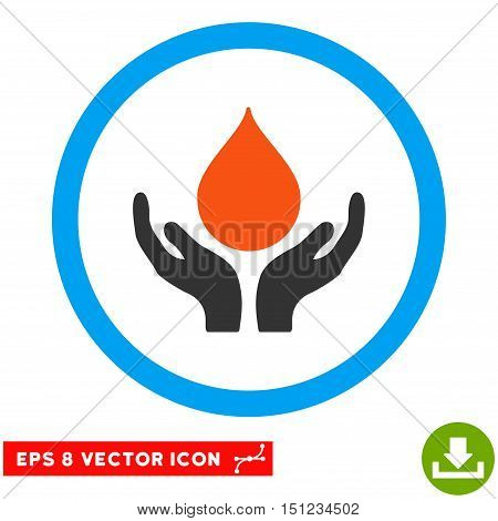Rounded Blood Donation Hands EPS vector pictograph. Illustration style is flat icon symbol inside a blue circle.