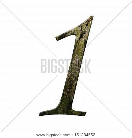 Wooden Digit One Symbol - 1. Isolated On White Background