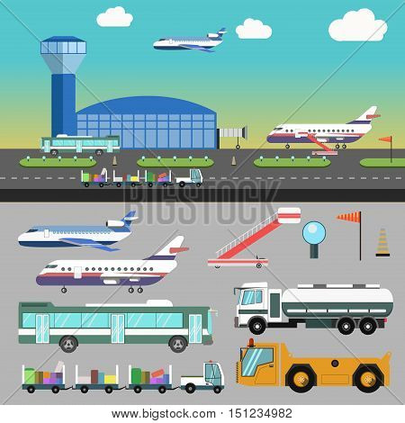 Airport illustration with airplane and vacation. Vector transport flat icons. Set of airline servise symbols bus and baggage, truck for deliver and runway, stairs and aircraft transport for travel.