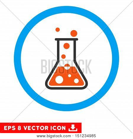 Rounded Boiling Liquid Flask EPS vector icon. Illustration style is flat icon symbol inside a blue circle.