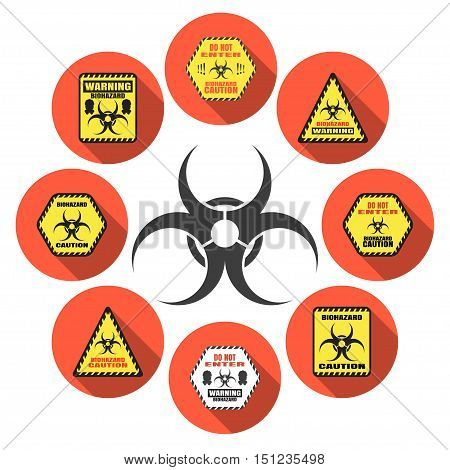 Biohazard - vector isolated icons set with shadow.
