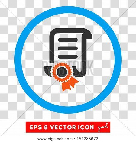 Rounded Certified Scroll Document EPS vector pictogram. Illustration style is flat icon symbol inside a blue circle.